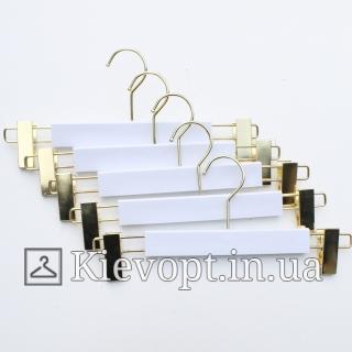 Плечики вешалки акриловые брючные с прищепками белые, 35 см (06-05-08)