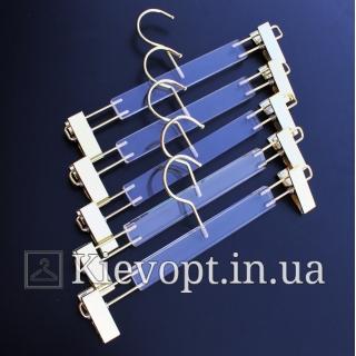 Плечики вешалки акриловые брючные с прищепками стекло, 35 см (06-05-05)