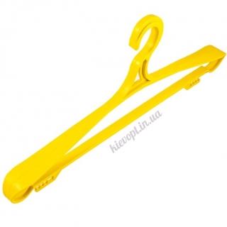 Вешалки плечики пластиковые для верхней одежды желтые, 42 см, 46 см, 5 шт