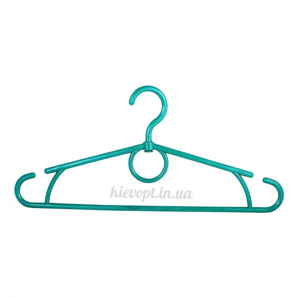 Вешалки плечики усиленные пластиковые зеленый металлик, 42 см