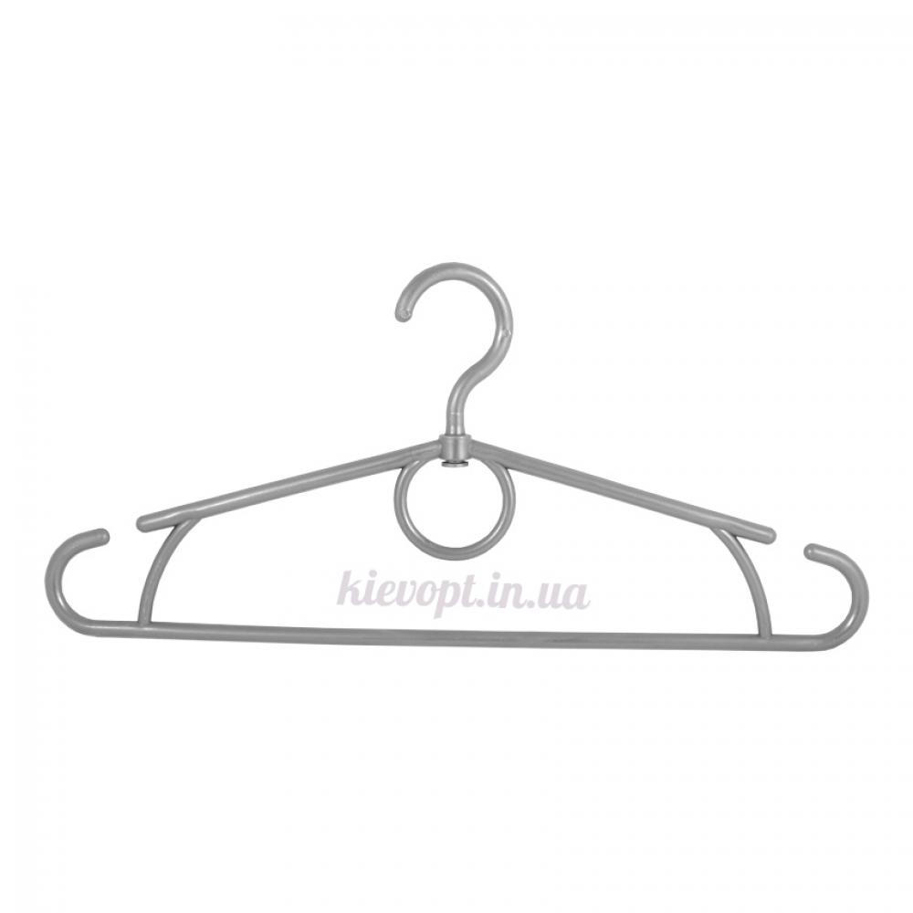 Вешалки плечики усиленные пластиковые серебро, 42 см, 10 шт