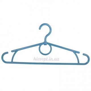 Вешалки плечики усиленные пластиковые синий металлик, 42 см