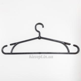 Вешалки плечики пластиковые для одежды черные (усиленное плечо), 42 см