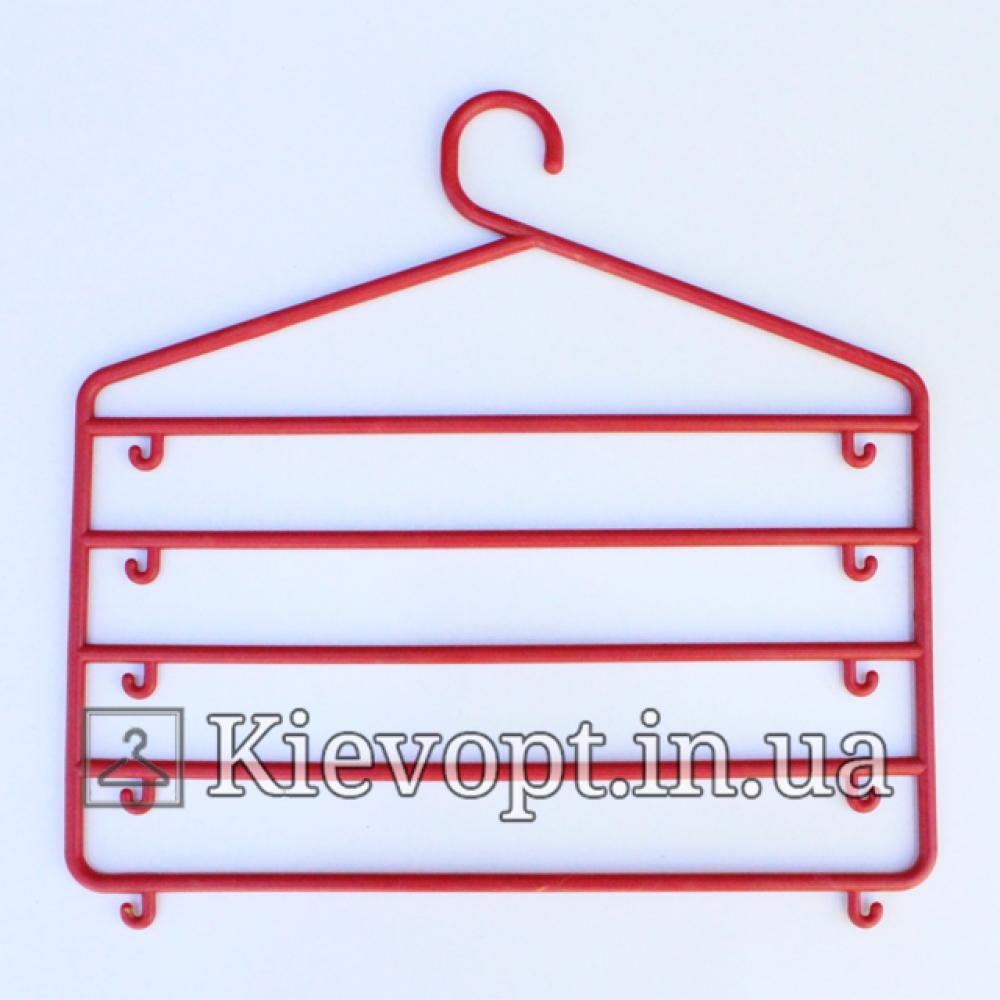Вешалка органайзер многоярусная для одежды красная