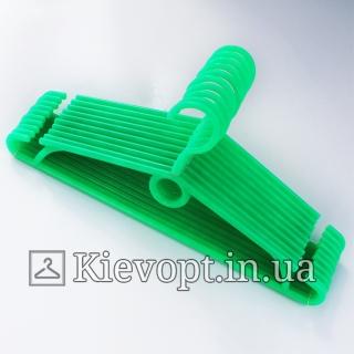 Вешалки пластиковые для одежды зеленые Польша, 40 см, 10 шт (01-40-02)