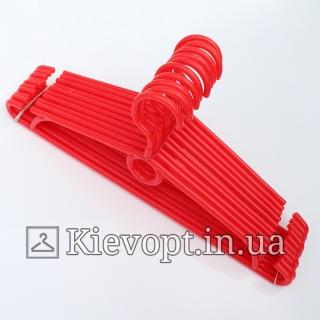 Вешалки пластиковые для одежды красные Польша, 40 см, 10 шт (01-40-04)