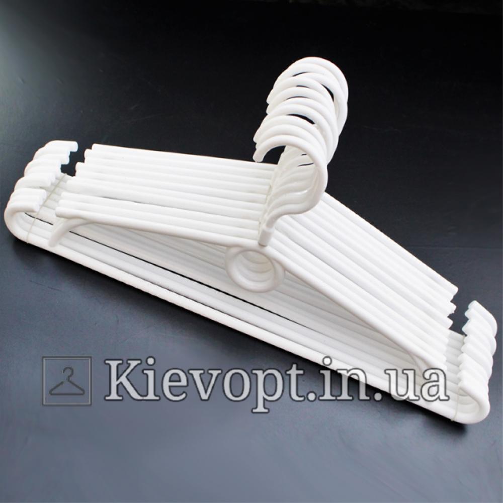Вешалки пластиковые для одежды белые Польша, 40 см, 10 шт (01-40-01)