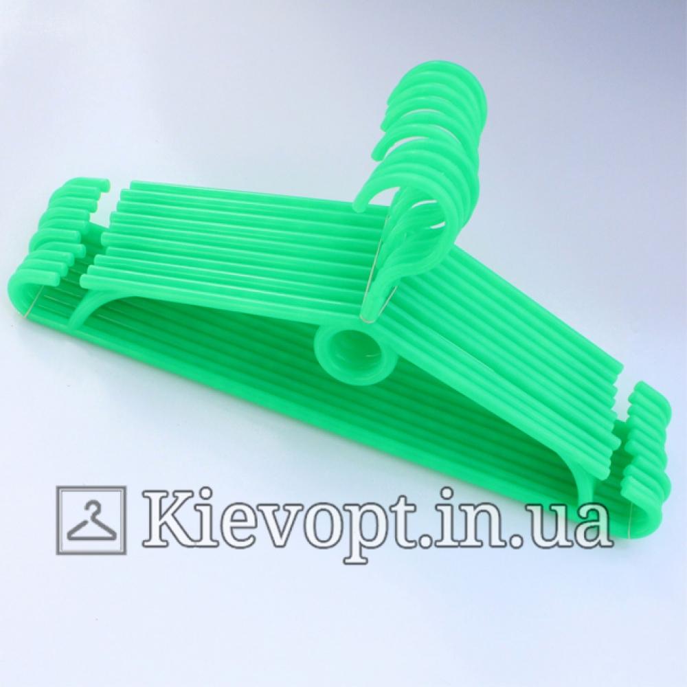 Вешалки пластиковые для одежды зеленые Польша, 40 см (01-40-02)