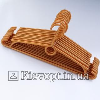 Вешалки пластиковые для одежды золотистые Польша, 40 см, 10 шт (01-40-05)