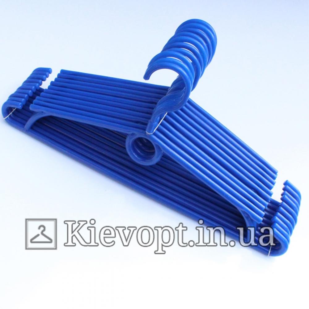 Вешалки пластиковые для одежды синие Польша, 40 см, 10 шт (01-40-06)