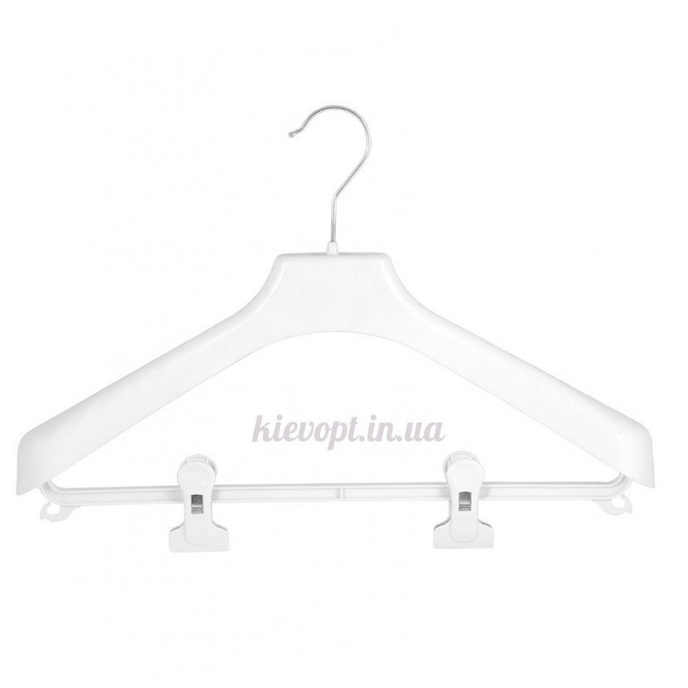Вешалки плечики для верхней одежды и костюмов с прищепками белые, 46 см