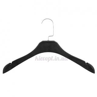 Вешалки плечики для верхней одежды со структурой дерева черные, 40 см