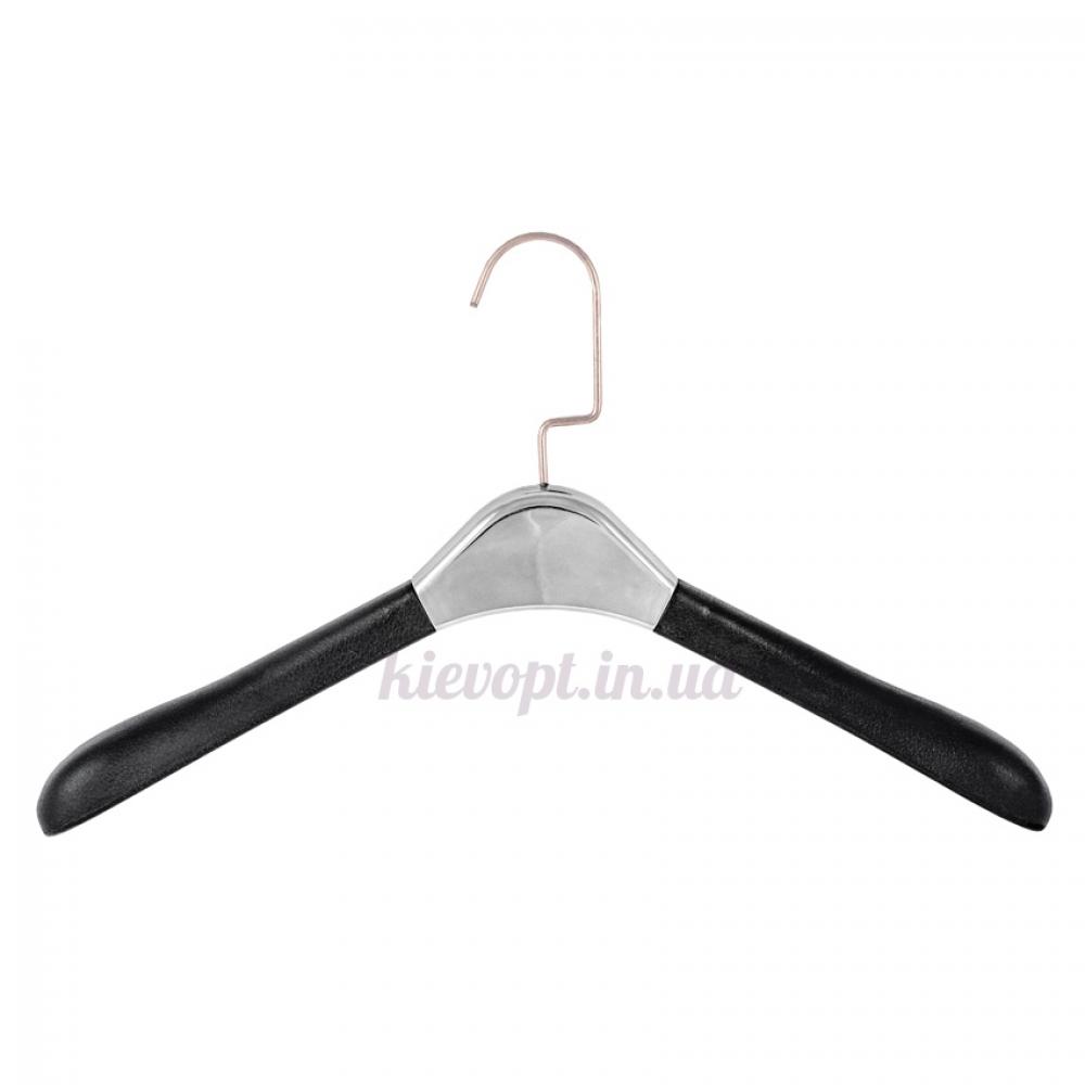 Вешалки плечики кожаные мягкие с серебрянной вставкой LUX, 40 см