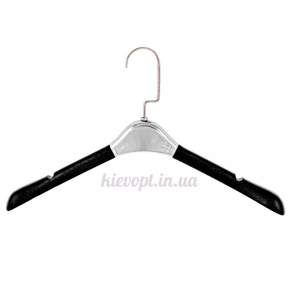 Вешалки плечики кожаные мягкие с серебрянной вставкой LUX, 39 см