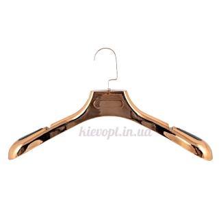 Вешалки плечики для верхней одежды бронзовые с прорезиненной вставкой, 45 см